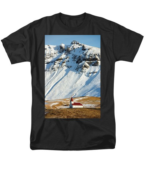 Men's T-Shirt  (Regular Fit) featuring the photograph Church And Mountains In Winter Vik Iceland by Matthias Hauser