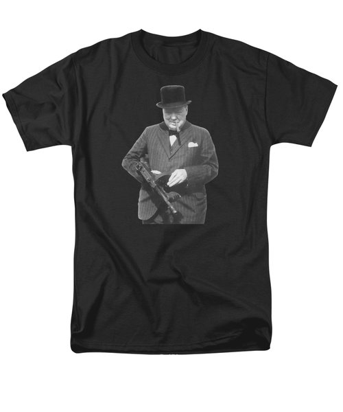 Churchill Posing With A Tommy Gun Men's T-Shirt  (Regular Fit) by War Is Hell Store