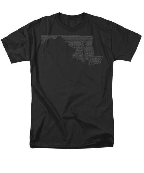 Cities And Towns In Maryland White Men's T-Shirt  (Regular Fit) by Custom Home Fashions