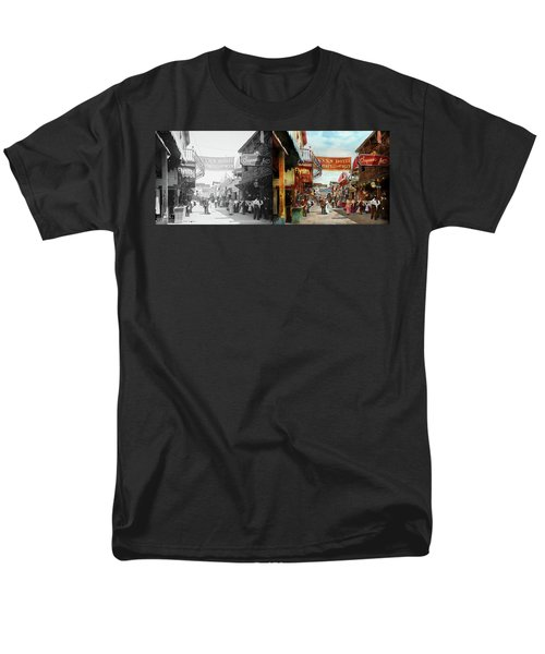 Men's T-Shirt  (Regular Fit) featuring the photograph City - Coney Island Ny - Bowery Beer 1903 - Side By Side by Mike Savad