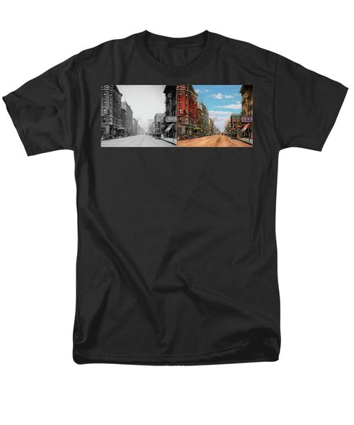 Men's T-Shirt  (Regular Fit) featuring the photograph City - Memphis Tn - Main Street Mall 1909 - Side By Side by Mike Savad