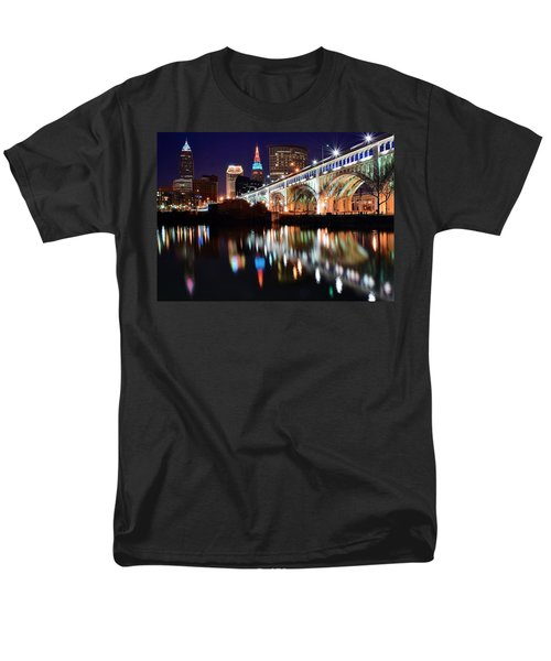 Cleveland Ohio Skyline Men's T-Shirt  (Regular Fit) by Frozen in Time Fine Art Photography