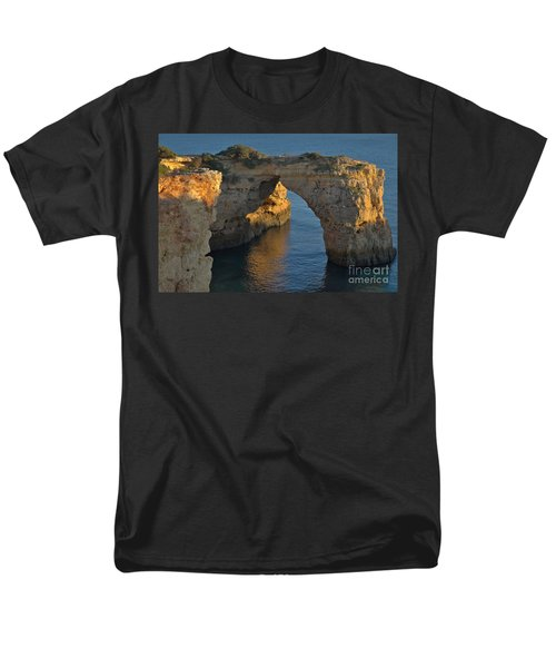 Cliff Arch In Albandeira Beach During Sunset 2 Men's T-Shirt  (Regular Fit) by Angelo DeVal