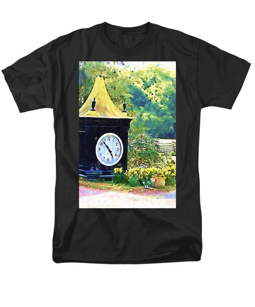 Men's T-Shirt  (Regular Fit) featuring the photograph Clock Tower In The Garden by Donna Bentley