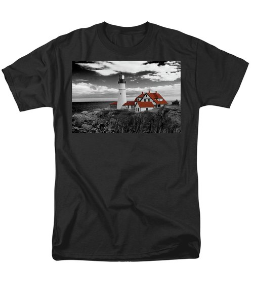 Clouds Over Portland Head Lighthouse 3 - Bw Men's T-Shirt  (Regular Fit) by Lou Ford