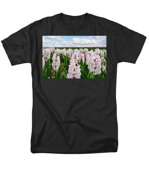 Clouds Over The Pink Hyacinth Field Men's T-Shirt  (Regular Fit) by Mihaela Pater