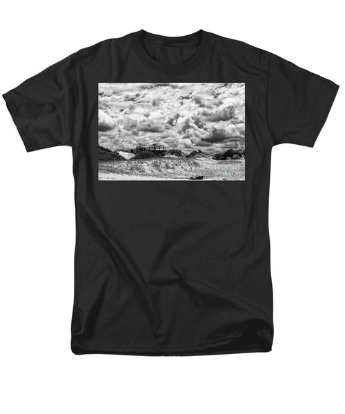 Men's T-Shirt  (Regular Fit) featuring the photograph Cloudy Beach Black And White By Kaye Menner by Kaye Menner