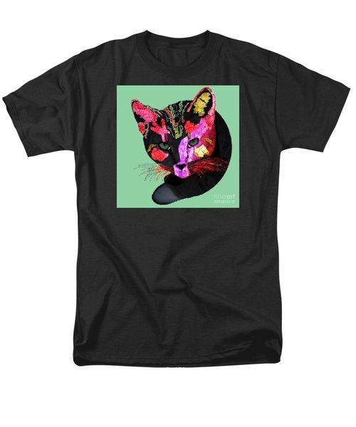Colorful Cat Abstract Artwork By Claudia Ellis Men's T-Shirt  (Regular Fit) by Claudia Ellis