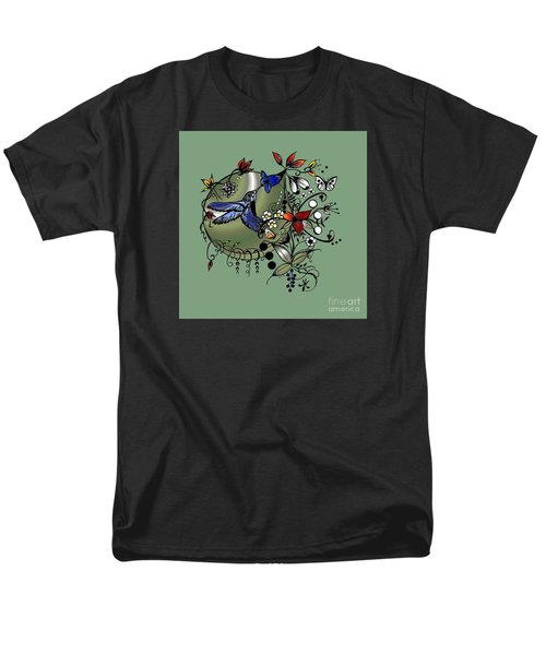 Men's T-Shirt  (Regular Fit) featuring the drawing Colorful Hummingbird Ink And Pencil Drawing by Saribelle Rodriguez