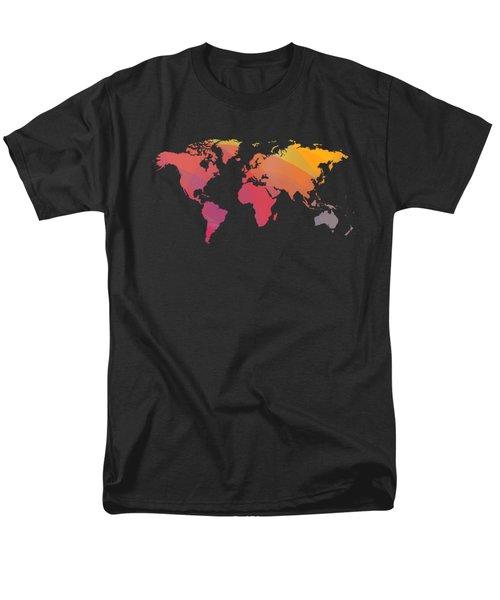 Colorist World Map Over Black Men's T-Shirt  (Regular Fit) by Alberto RuiZ