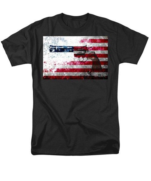 Colt Python 357 Mag On American Flag Men's T-Shirt  (Regular Fit) by M L C