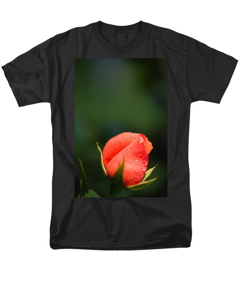 Men's T-Shirt  (Regular Fit) featuring the photograph Coral Rose On Green by Debbie Karnes