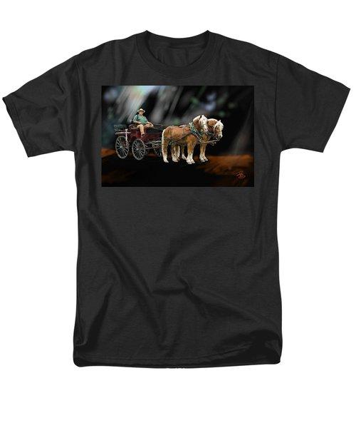 Country Road Horse And Wagon Men's T-Shirt  (Regular Fit) by Debra Baldwin