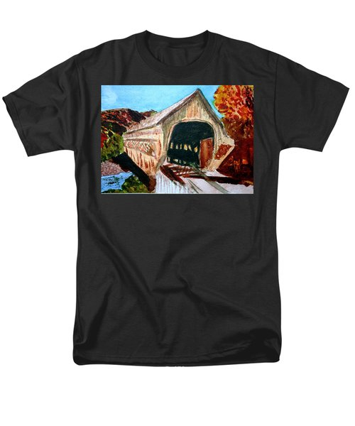 Men's T-Shirt  (Regular Fit) featuring the painting Covered Bridge Woodstock Vt by Donna Walsh