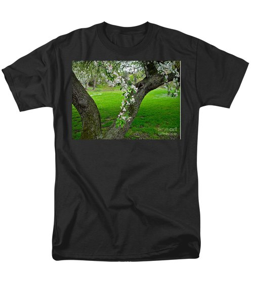 Crabapple Blossoms On A Rainy Spring Day Men's T-Shirt  (Regular Fit) by Byron Varvarigos