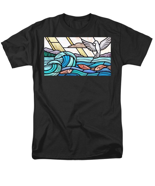 Creation Of The Sea And Sky Men's T-Shirt  (Regular Fit) by Gilroy Stained Glass