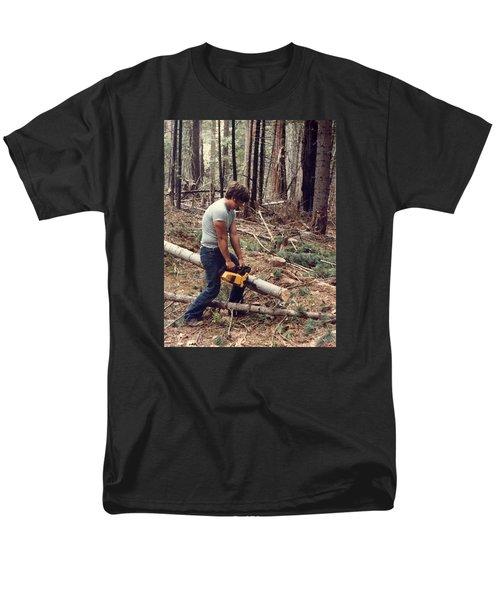 Cutting Wood In Blue Canyon Men's T-Shirt  (Regular Fit)
