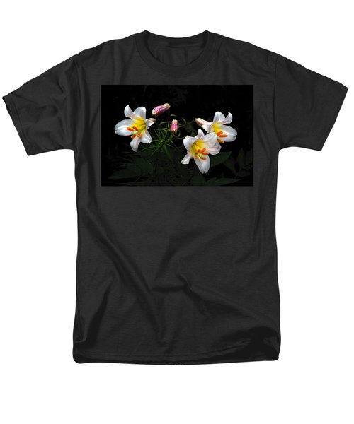 Men's T-Shirt  (Regular Fit) featuring the photograph Dark Day Bright Lilies by Byron Varvarigos