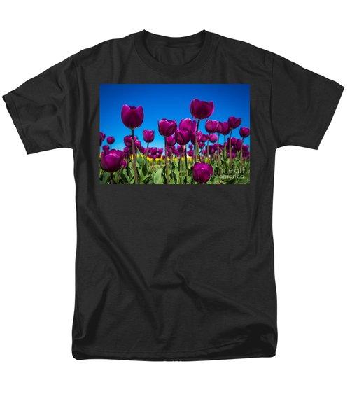 Dark Purple Tulips Men's T-Shirt  (Regular Fit) by John Roberts