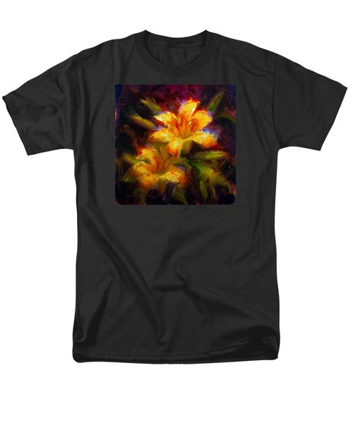 Men's T-Shirt  (Regular Fit) featuring the painting Daylily Sunshine - Colorful Tiger Lily/orange Day-lily Floral Still Life  by Karen Whitworth