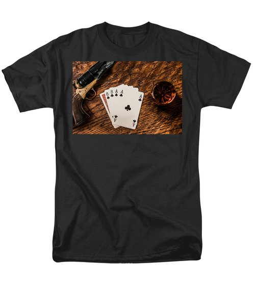 Dead Mans Hand A Gun And A Shot Of Whiskey Men's T-Shirt  (Regular Fit) by Semmick Photo