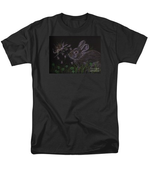 Men's T-Shirt  (Regular Fit) featuring the drawing Dearest Bunny Eat The Clover And Let The Garden Be by Dawn Fairies
