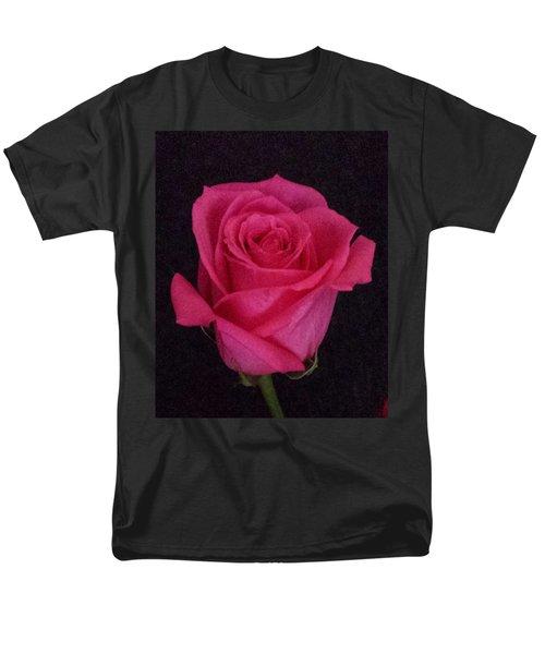 Deep Pink Rose On Black Men's T-Shirt  (Regular Fit) by Karen J Shine