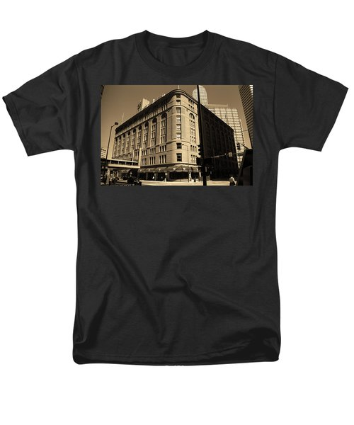 Men's T-Shirt  (Regular Fit) featuring the photograph Denver Downtown Sepia by Frank Romeo