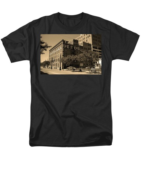 Men's T-Shirt  (Regular Fit) featuring the photograph Denver Downtown Warehouse Sepia by Frank Romeo