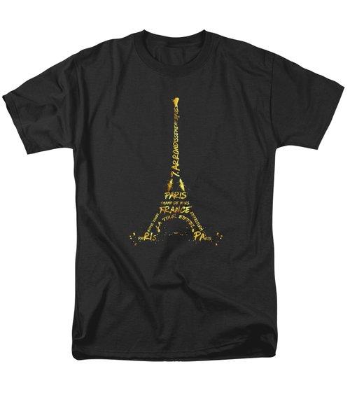 Digital-art Eiffel Tower - Black And Golden Men's T-Shirt  (Regular Fit)