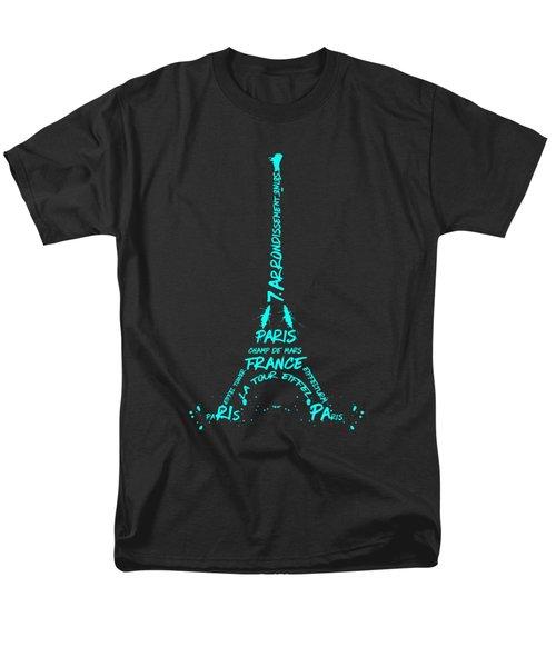 Digital-art Eiffel Tower Cyan Men's T-Shirt  (Regular Fit)