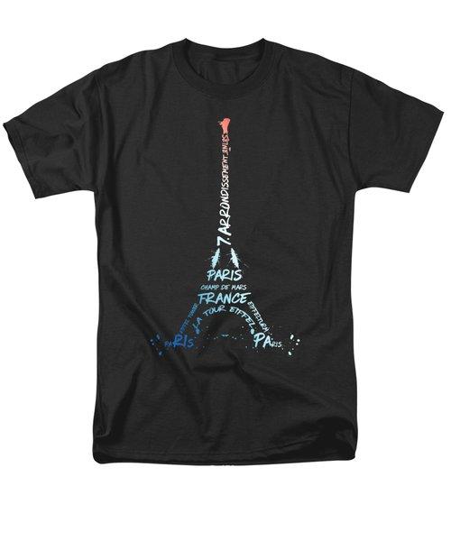 Digital-art Eiffel Tower National Colours Men's T-Shirt  (Regular Fit)