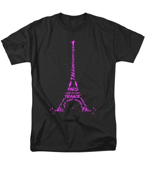Digital-art Eiffel Tower Pink Men's T-Shirt  (Regular Fit)