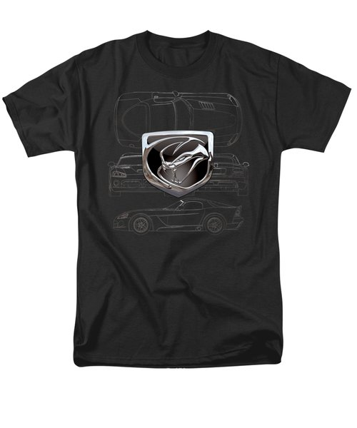 Dodge Viper  3 D  Badge Over Dodge Viper S R T 10 Silver Blueprint On Black Special Edition Men's T-Shirt  (Regular Fit) by Serge Averbukh