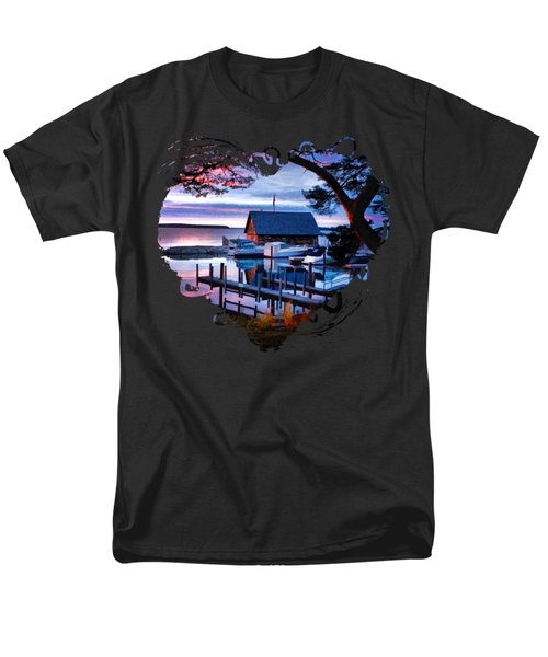Men's T-Shirt  (Regular Fit) featuring the painting Door County Anderson Dock Sunset by Christopher Arndt