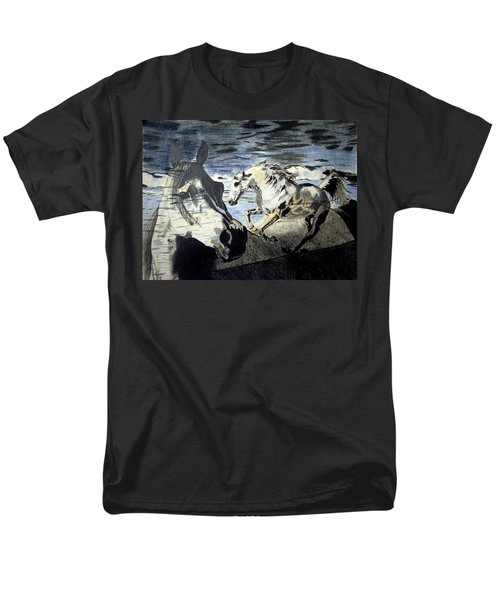 Men's T-Shirt  (Regular Fit) featuring the drawing Double by Melita Safran