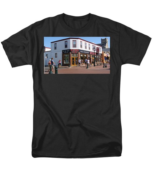 Men's T-Shirt  (Regular Fit) featuring the painting Downtown Cape May New Jersey by Rod Jellison