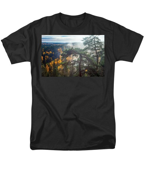 Dramatic Autumn Forest With Trees On Foreground Men's T-Shirt  (Regular Fit) by Teemu Tretjakov
