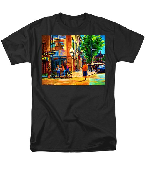 Men's T-Shirt  (Regular Fit) featuring the painting Eggspectation Cafe On Esplanade by Carole Spandau