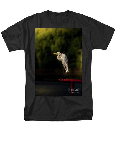 Men's T-Shirt  (Regular Fit) featuring the photograph Egret On Deck Rail by Robert Frederick