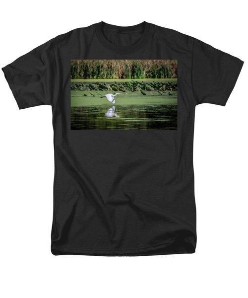 Egret Over Wetland Men's T-Shirt  (Regular Fit) by Ray Congrove