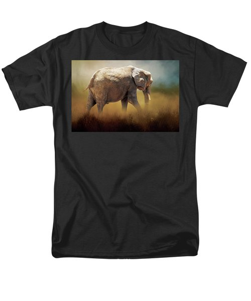 Men's T-Shirt  (Regular Fit) featuring the photograph Elephant In The Mist by David and Carol Kelly