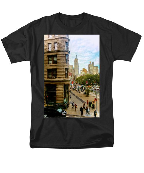 Men's T-Shirt  (Regular Fit) featuring the photograph Empire State Building - Crackled View by Madeline Ellis