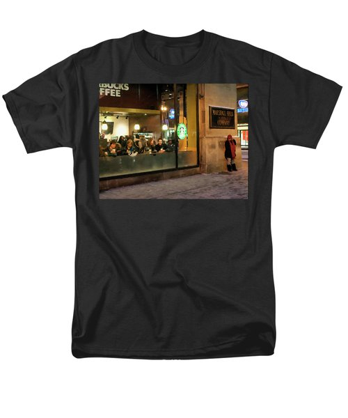 Men's T-Shirt  (Regular Fit) featuring the digital art Faces At The Coffeehouse by Chris Flees