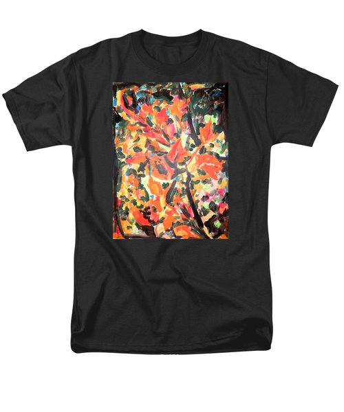 Men's T-Shirt  (Regular Fit) featuring the painting Fall Forest In Red And Black by Esther Newman-Cohen