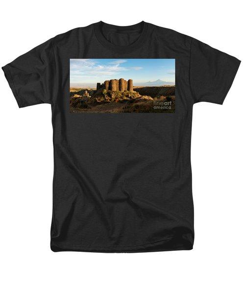 Famous Amberd Fortress With Mount Ararat At Back, Armenia Men's T-Shirt  (Regular Fit) by Gurgen Bakhshetsyan