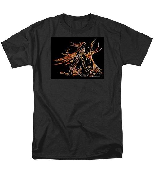Men's T-Shirt  (Regular Fit) featuring the drawing Fancy Flight On Fire by Jamie Lynn