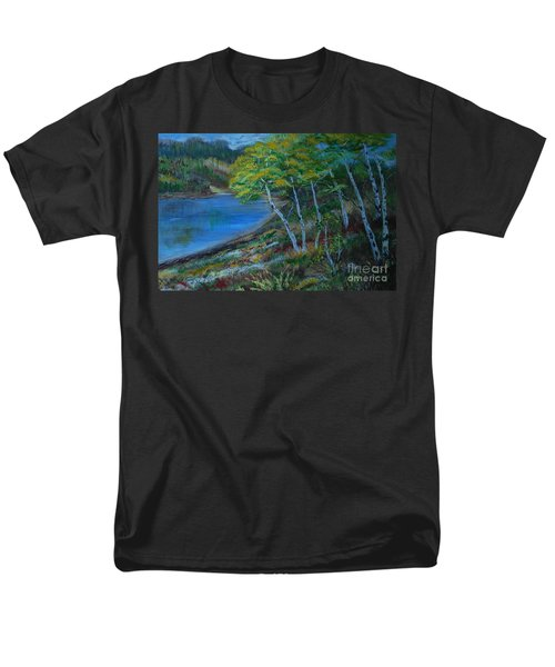 Men's T-Shirt  (Regular Fit) featuring the painting Favorite Fishin' Hole by Leslie Allen