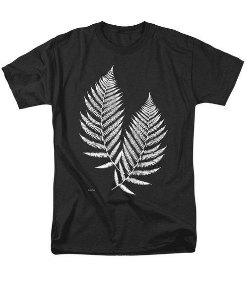 Men's T-Shirt  (Regular Fit) featuring the mixed media Fern Pattern Black And White by Christina Rollo