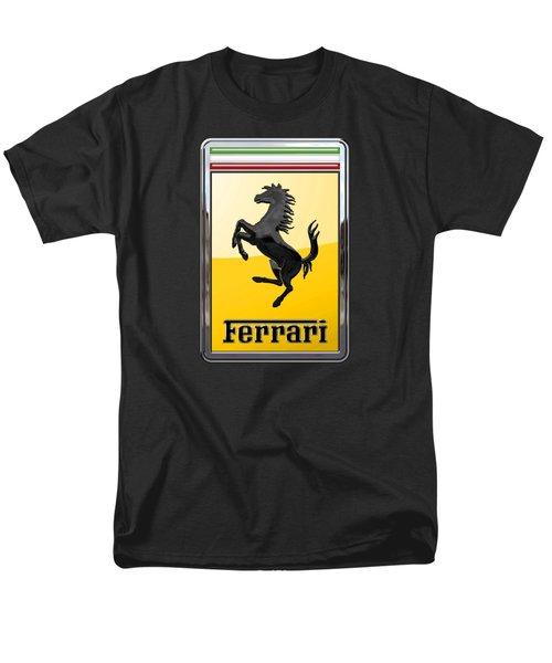 Ferrari - 3 D Badge On Black Men's T-Shirt  (Regular Fit) by Serge Averbukh